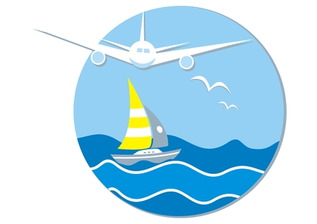 Summer holiday, banner, airplane, sailboat and birds, at the background ocean and sky, vector icon