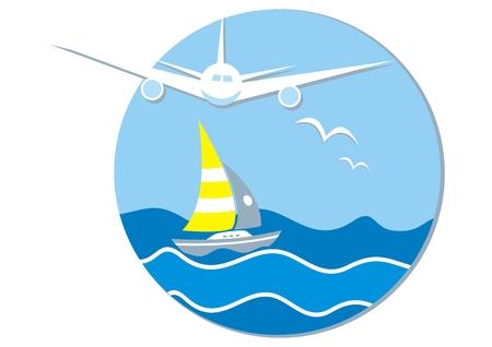 Vacaciones de verano, banner, avión, velero y pájaros, en el fondo del océano y el cielo, icono de vector