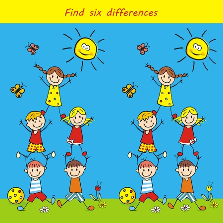 Leisure board game, find six differences, vector