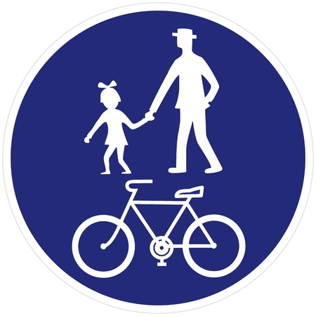 road sign, pedestrian and bicycle road sign pedestrian and bicyclist, vector