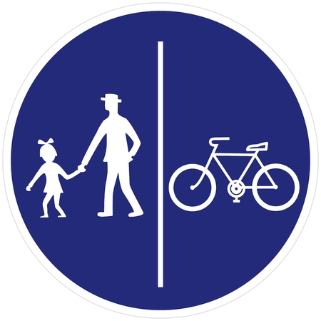 Road sign, pedestrian and bicycle road sign, pedestrian and bicyclist, vector icon. Circular blue traffic sign. Single object, white silhouette of people, man and baby, and bicycle. Ilustração