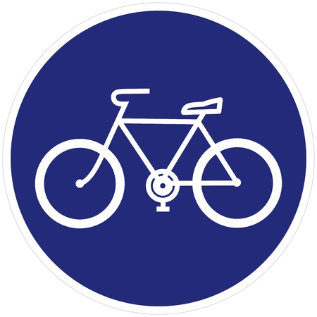 Bicycle trail, path, road sign, blue frame, vector icon