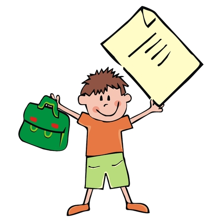 Boy and school supplies, vector funny illustration, satchel and sheet of paper. Single schoolboy and schoolbag and sheet of paper of exercise book. Hand drawing, colored picture.