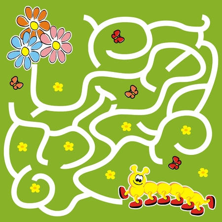 Labyrinth, board game for kids, caterpillar and flowers, vector icon