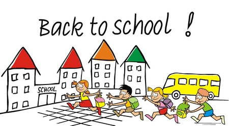 Back to school, school kids with bags running to school, vector funny illustration