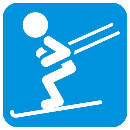 Downhill skiing, white silhouette at blue frame. Figure on skis. Isolated object.