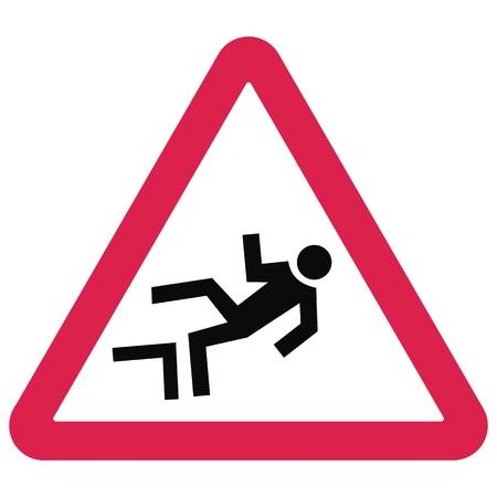Panneaux de signalisation d'avertissement. Risque de chute de hauteur. Conseil triangle rouge. Silhouette noire de l'homme. Le mâle tombe d'une hauteur. Objet métier isolé.
