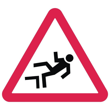 Warning traffic signs. Danger of falling from a height. Red triangle board. Black silhouette of man. The male falls from a height. Isolated business object.