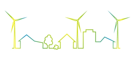 Town and wind power plant, multicolored icon, silhouette. Icon for rewenable energy. Houses, trees and power wind plant.