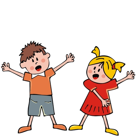 Singing children, girl and boy, vector icon