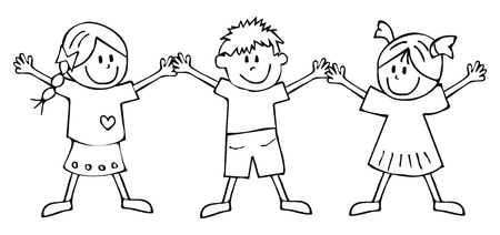 Two Girls And Boy, Coloring Book For Children, Vector Icon. Clothes ...