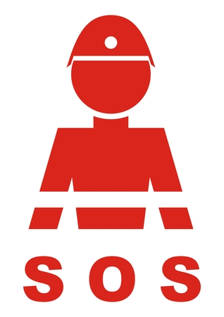 Fireman, symbol for firefighters, vector icon. Single person at uniform uniform. Inscription SOS. Red silhouette of man. Illustration