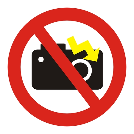 Not allowed photo with flash, vector sign