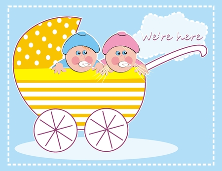 baby girl and baby boy, twins, creative vector illustration Ilustração