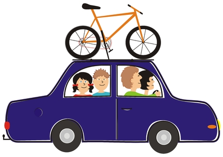 car and bicycle, funny vector illustration Vector Illustration