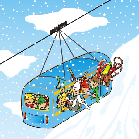 Cableway in winter, group of children, vector illustration