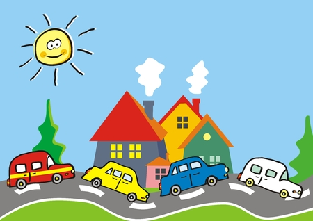 Landscape, group of cars on the road and houses and trees, vector illustration. At the background is sun on the sky. Cute illustration for children.
