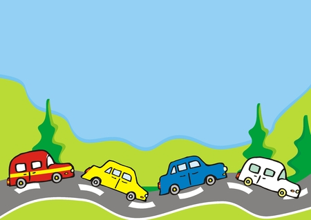 Landscape, group of cars on the mountain and trees, vector illustration. At the background is blue sky. Cute illustration for children.