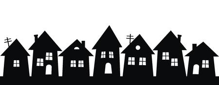 zwart silhouet van stad, groep huizen, vector icon