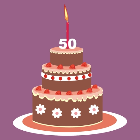 Birthday cake, 50 years, vector illustration. Fruit cake with candle on a purple background. Illustration