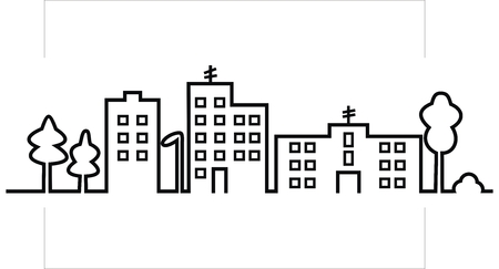 cityscape, black silhouette of town, vector icon Illustration