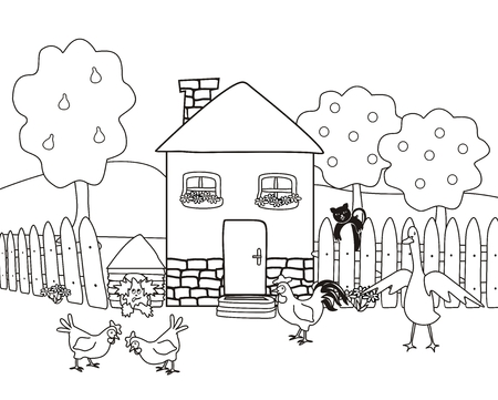 Casa e giardino con animali da fattoria, libro da colorare, illustrazione vettoriale