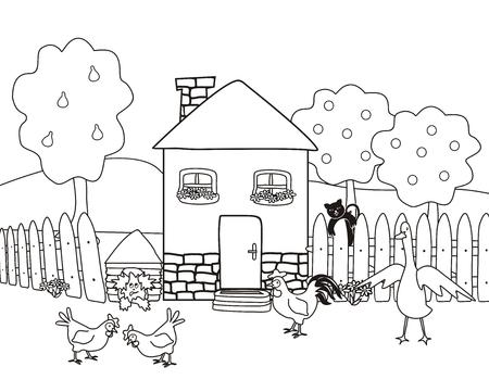 Dom i ogród ze zwierzętami gospodarskimi, kolorowanka, ilustracji wektorowych