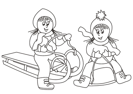 girls on the sleighs and bobsled, coloring book Illustration