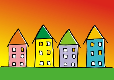 Group of houses, colored banner, vector icon