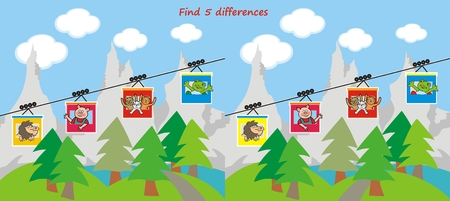 Board game for children, find five differences, animals take a cable car to the mountains, funny vector illustration