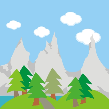 Landscape, mountain, lake and forest, vector illustration