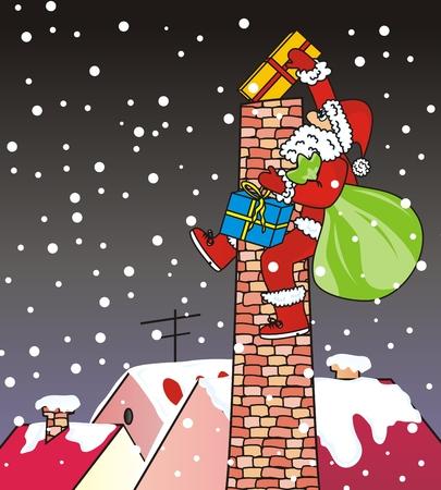 Weihnachtsmann, Schornstein, lustige Illustration Vektorgrafik