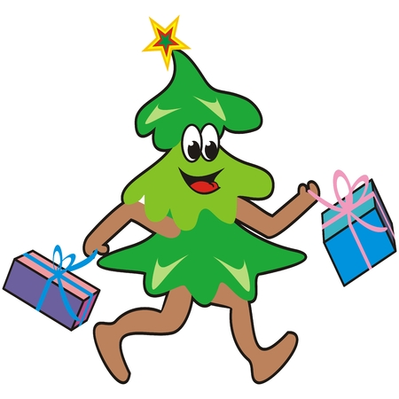 Christmas tree, shopping, funny vector illustration