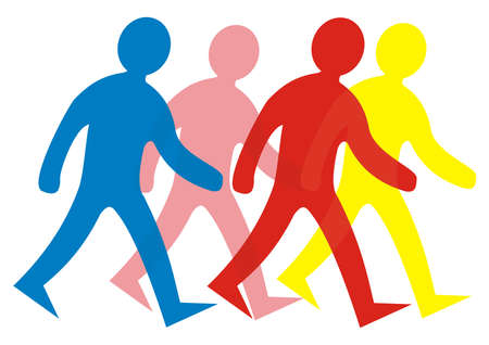 group of people walking, vector icon