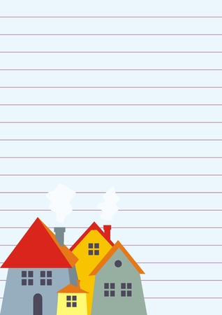 Group of houses on lined paper, concept, vector icon