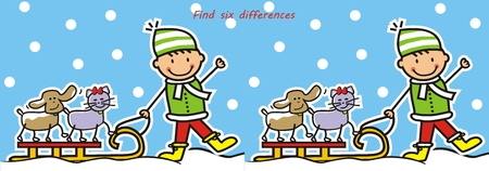boy and sled with cat and dog, board game, find six differences