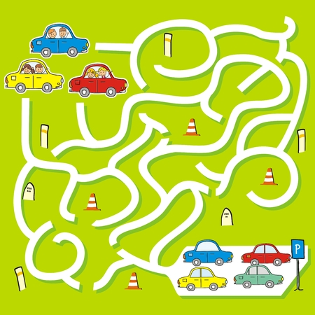 Happy children at cars, game for children, labyrinth, vector illustration