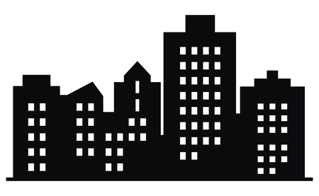 Black silhouette of city, vector icon