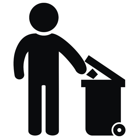 Container for waste, black figure and trash can, vector icon