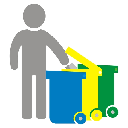 Sorted waste, person and three waste cans, vector icon. Group of three cans for waste. Containers for plastics, glass and paper.