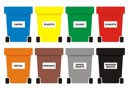 Group of waste cans, eight color containers for waste, vector icon