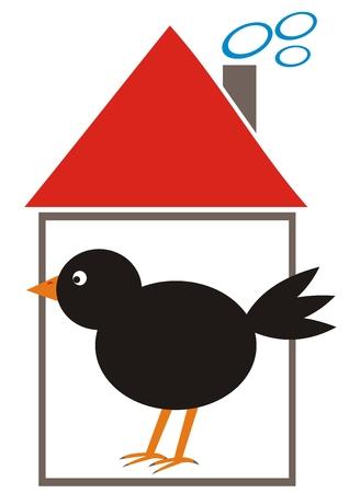 Blackbird in the feeder, vector illustration Illustration