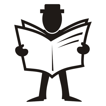 Black figure with newspaper, vector icon. Person with newsletter. The reader in the library.