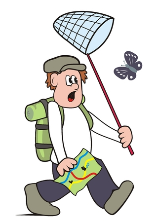 Man with net on butterflies, funny vector illustration