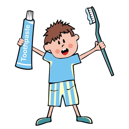 Little boy, toothpaste and toothbrush, vector illustration. Baby at pajamas with toothpaste and blue toothbrush. One person, isolated object. Cute illustration for Health Advertising. Stock Illustratie