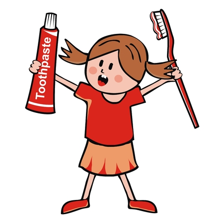 Little girl, toothpaste and toothbrush, vector illustration. Baby with toothpaste and red toothbrush. One person, isolated object. Cute illustration for Health Advertising. Stock Illustratie