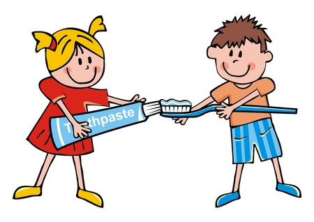 Little girl with toothpaste and toothbrush, vector illustration. Happy kids with toothpaste and toothbrush. Cute illustration for Health Advertising.