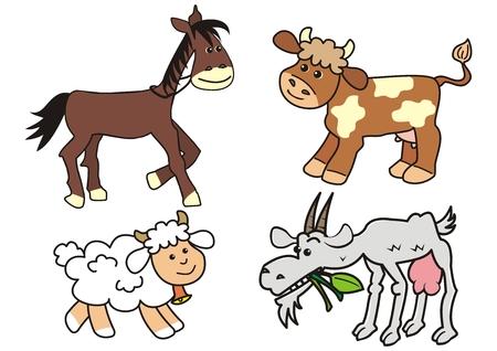 Grupa zwierząt gospodarskich, koni, krów, owiec i kóz, zabawny ładny ilustracji wektorowych