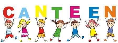 glückliche Kinder und Kantine, Vektorillustration, Banner