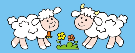 Sheep and lamb, cute picture, vector icon 矢量图像